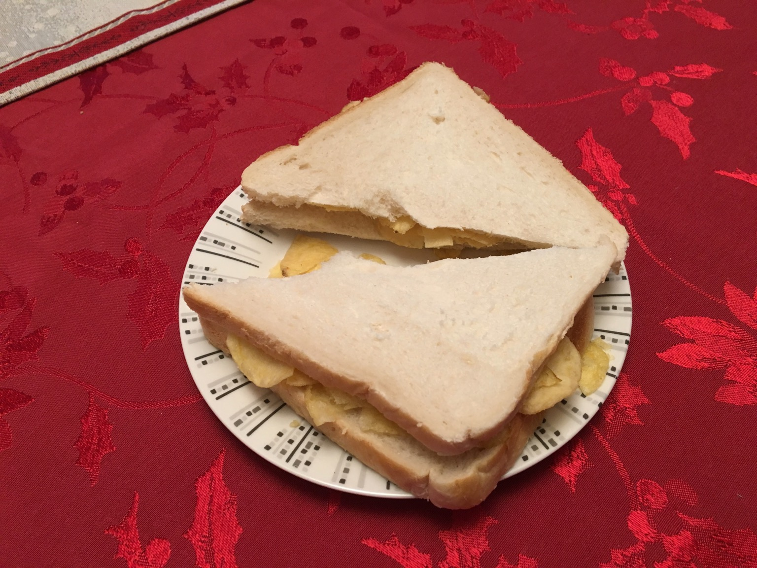White crisp sandwich cut in half diagonally